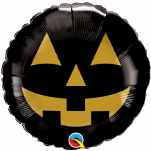 "Halloween Foil Balloon - Jack Face Black & Gold (18"") 1pc"